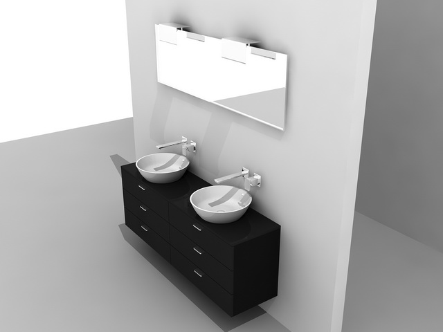 Bathroom Vanity Black 3d Model 3ds Max Autocad Files Free