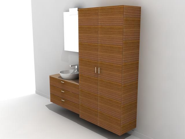 Tall Bathroom Vanity Cabinet 3d Model 3ds Max Autocad