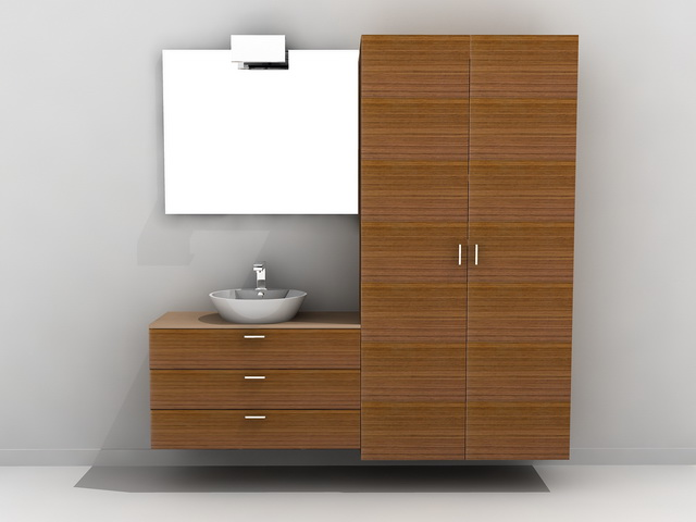 Tall Bathroom Vanity Cabinet D Model Ds MaxAutoCAD Files Free - Tall bathroom vanity cabinets