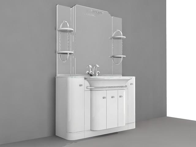 White Bathroom with Marble Vanity Top