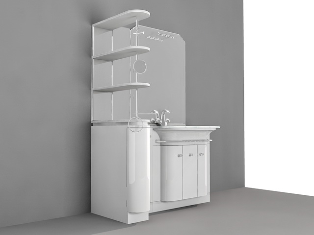 Bathroom Vanity with Side Shelf 3d model