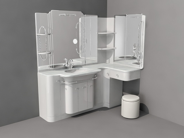 3d model of corner bathroom vanity with makeup counter available 3d file format 3ds 3d studio dwg autocad max autodesk 3ds max