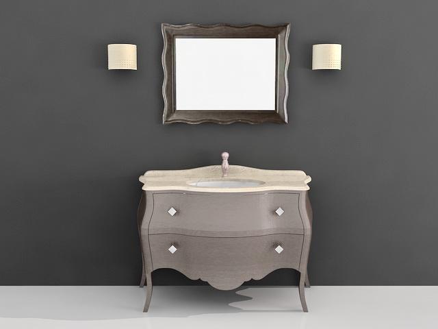 Free Standing Bath Vanity Cabinet 3d Model 3d Studio 3ds Max Autocad Files Free Download
