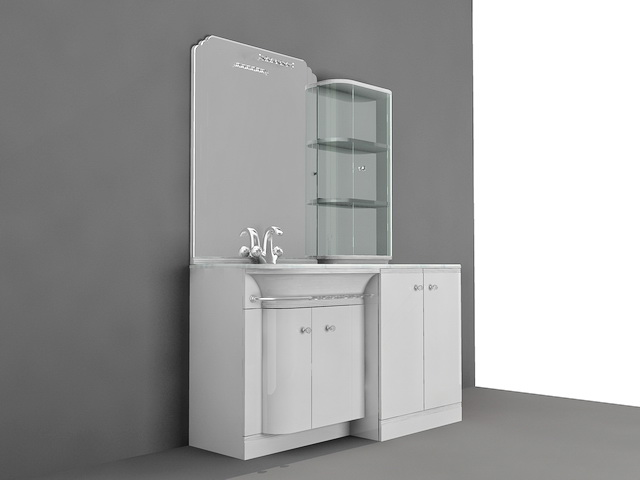 Bathroom Vanity with Backsplash Shelf 3d model