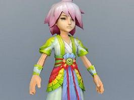 Oriental Anime Boy 3d model