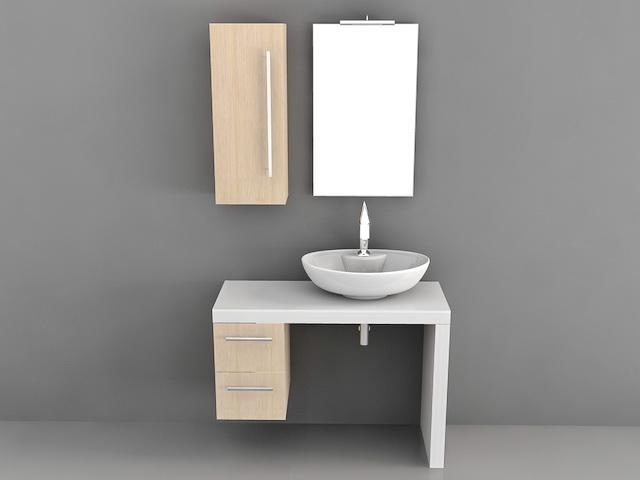 Floating Single Sink Bathroom Vanity 3d Model 3d Studio 3ds Max Autocad Files Free Download