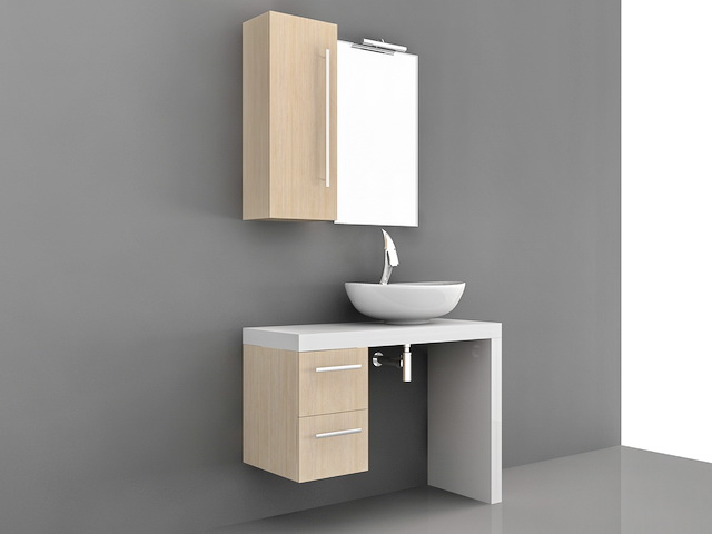 Floating Single Sink Bathroom Vanity 3d model