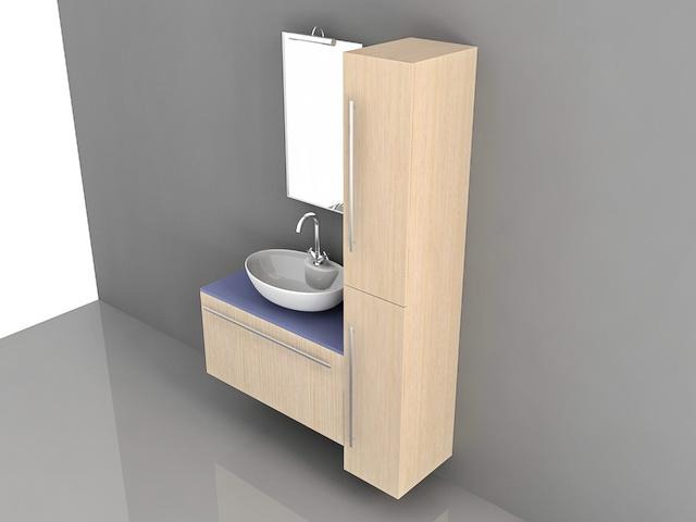 Bathroom Vanity Tall Storage Cabinets 3d Model 3d Studio 3ds Max Autocad Files Free Download