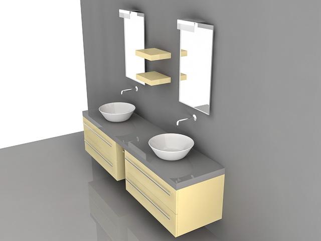 Double Vessel Sink Bathroom Vanities 3d Model 3d Studio 3ds Max Autocad Files Free Download