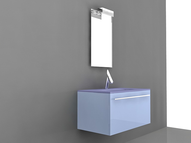 Blue Bathroom Vanity Single Sink 3d model