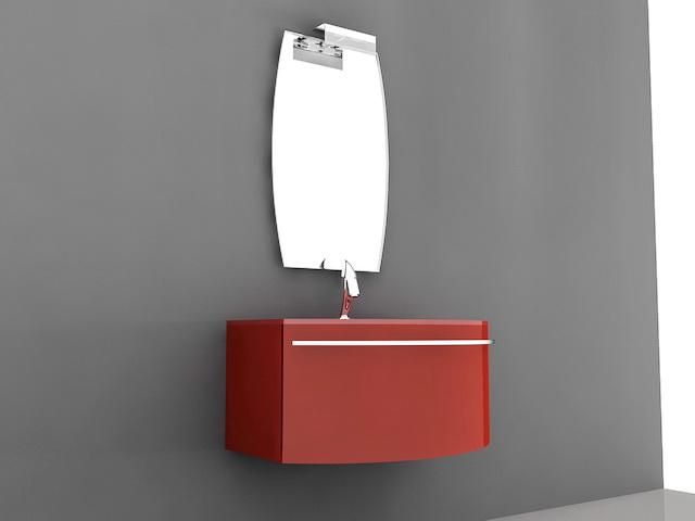 Red Modern Bathroom Vanity 3d model