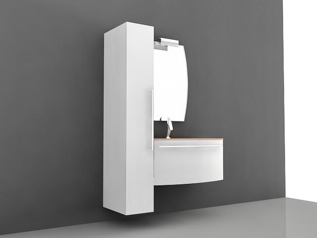 small modern bathroom vanity 3d model