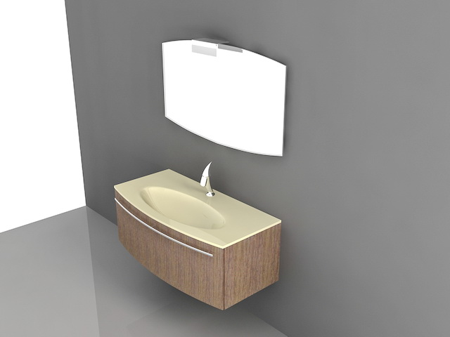 Floating Bathroom Vanity Single Sink 3d Model 3d Studio