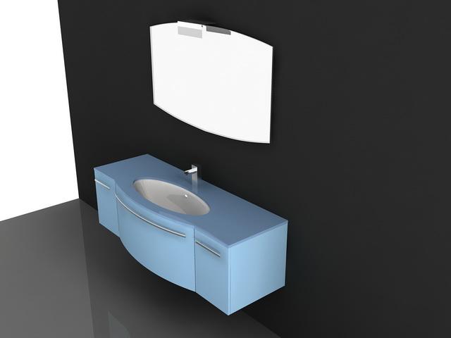 Blue Lacquer Bathroom Vanity 3d Model 3d Studio 3ds Max