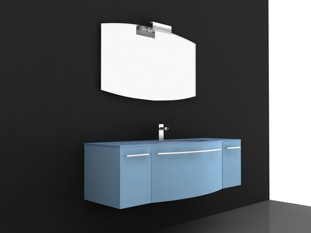 Blue Lacquer Bathroom Vanity 3d model