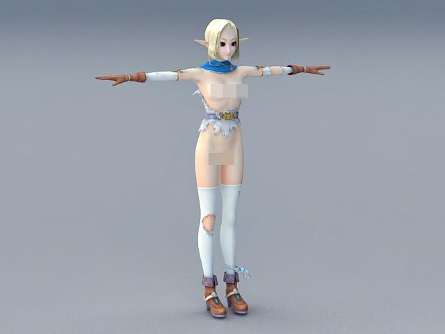 Semi Naked Elf Girl 3d model