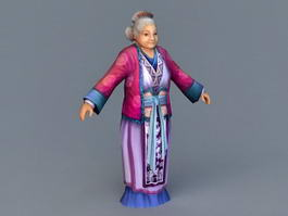 Medieval Old Woman 3d model