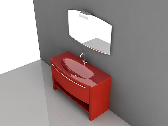 3D Model Of Red Bathroom Vanity. Available 3d File Format: .3ds (3D Studio)  .dwg (AutoCAD) .max (Autodesk 3ds Max) Free Download This 3d Object And Put  It ...