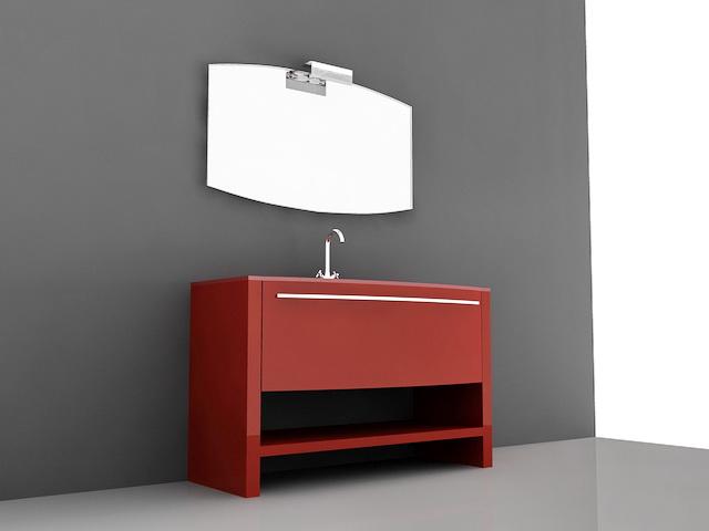 Red Bathroom Vanity 3d Model