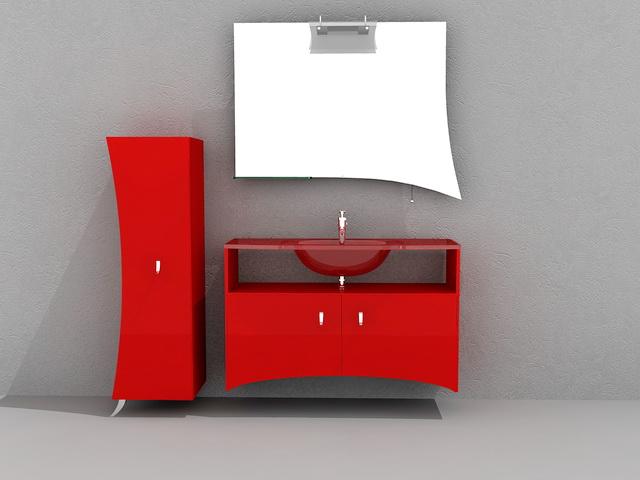 Red Bathroom Vanity Cabinet 3d Model 3d Studio 3ds Max