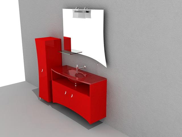 Red Bathroom Vanity Cabinet 3d Model 3d Studio 3ds Max Autocad Files Free Download Modeling