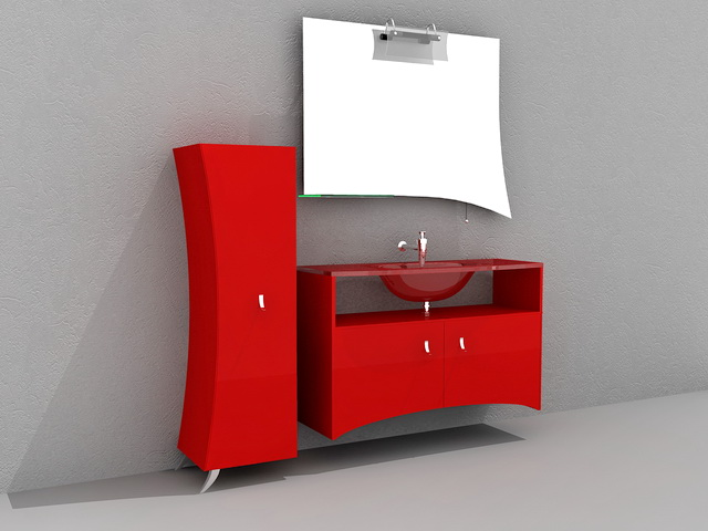 Red Bathroom Vanity Cabinet 3d model 3D Studio,3ds Max,AutoCAD files ...
