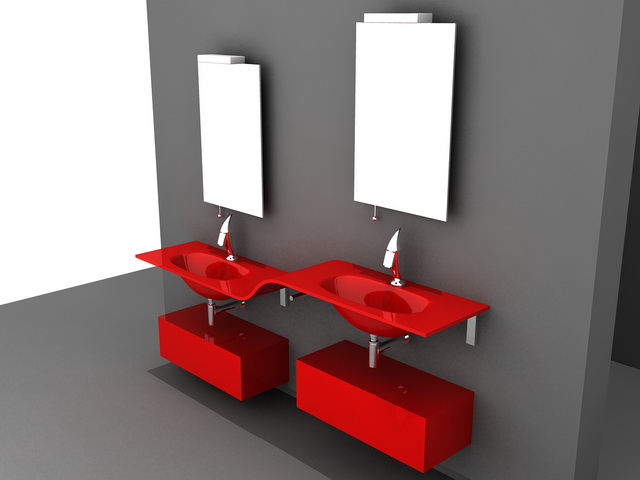 3D Model Of Double Sink Red Bathroom Vanity Wall Mount. Available 3d File  Format: .3ds (3D Studio) .dwg (AutoCAD) .max (Autodesk 3ds Max)