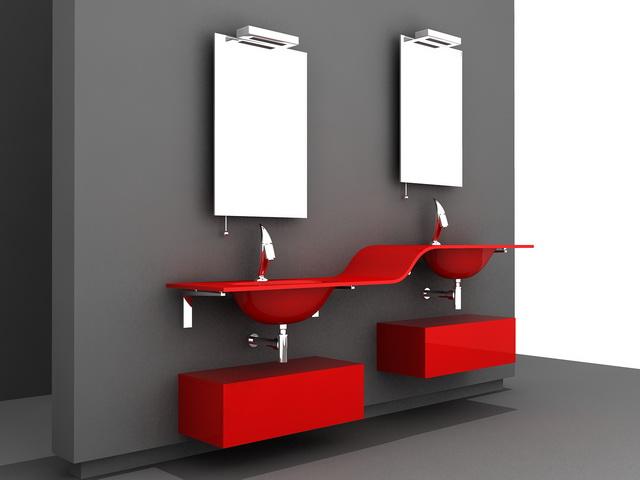 Modern Red Bathroom Vanity 3d Model