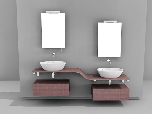 art deco bathroom vanity lights highly detailed model double vessel sink mirror available file format studio australia faucet