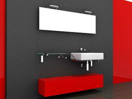 Red Bathroom Vanity Glass Top 3d model