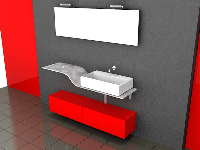 3D Model Of Red Red Bathroom Vanity With Glass Top And White Porcelain  Vessel Sink. Available 3d File Format: .max (Autodesk 3ds Max)
