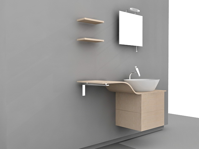 Single Sink Bathroom Vanity Cabinets 3d Model 3ds Max