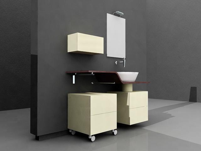 Yellow Bathroom Vanity Single Sink 3d Model 3d Studio 3ds