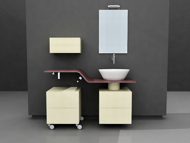 Yellow bathroom vanity single sink 3d model 3d studio 3ds for Bathroom design 3d model