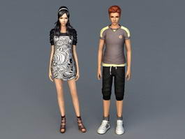 Young Asian Couple 3d model