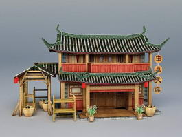 Ancient Chinese Herbal Medicine Shop 3d model