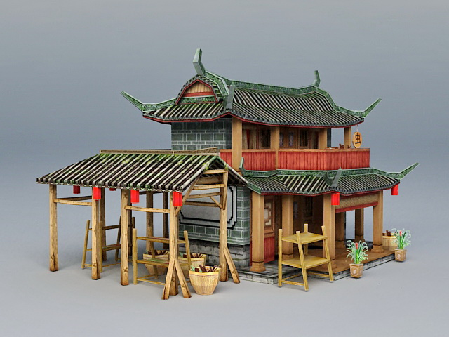 Ancient Chinese Herbal Medicine Shop 3d Model 3ds Max
