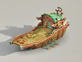 Ancient Polynesian Boat 3d model