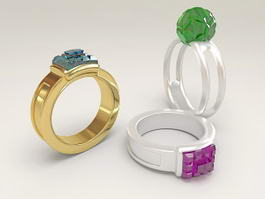 Gemstone Rings 3d model