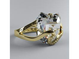 Gold Heart Diamond Ring 3d model