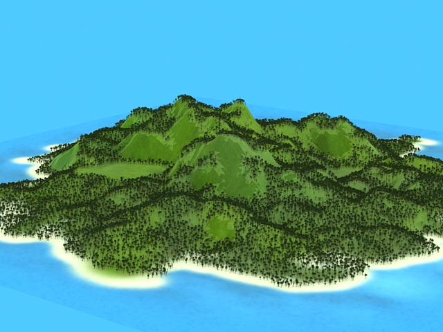 Beautiful Tropical Island 3d model