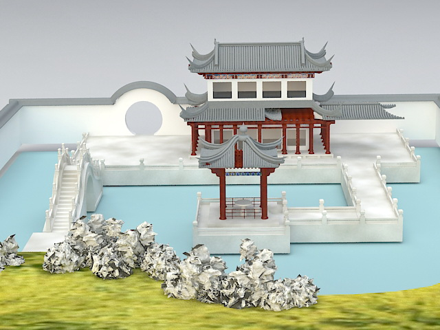 Chinese garden design 3d model 3ds max files free download for Garden design in 3ds max