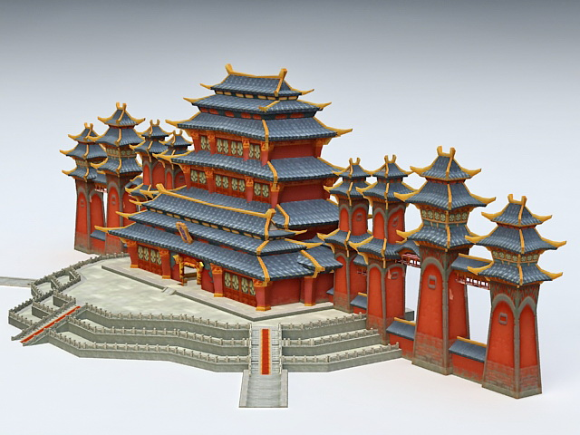 Anime Chinese Palace 3d Model 3ds Max Files Free Download