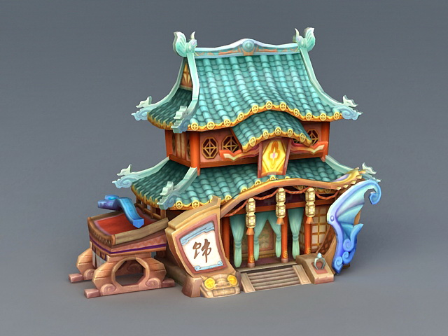 Cartoon China Architecture 3d Model 3ds Max Files Free