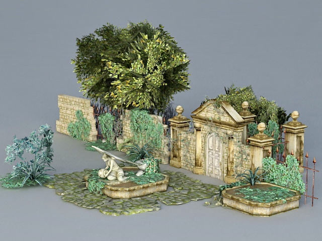 Garden Ruins 3d Model 3ds Max Files Free Download