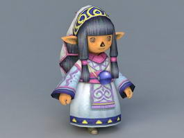 Elf Chibi Girl 3d model