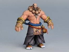 Martial Artist Monk Rigged and Animated 3d model