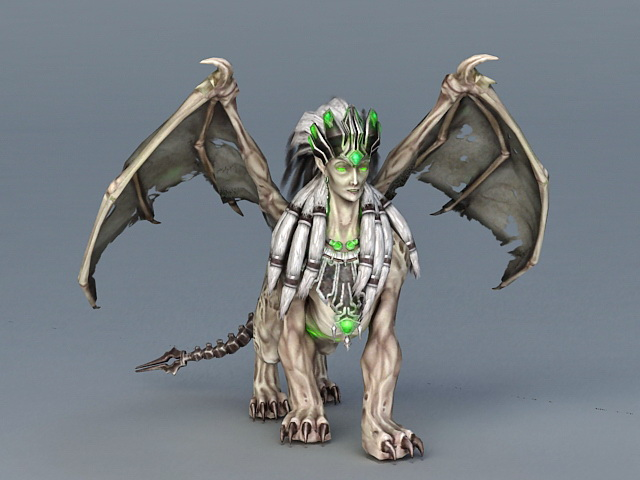 Winged Sphinx Monster 3d Model 3ds Max Files Free Download