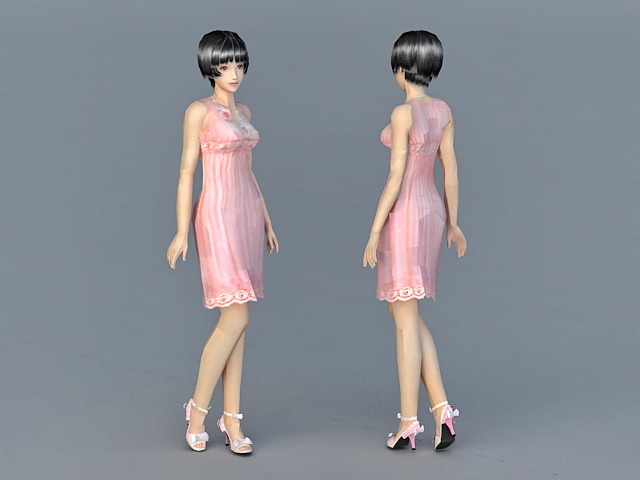 Beautiful Chinese Lady 3d model