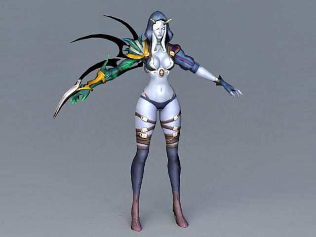 pathfinder female elf ranger 3d model 3ds max files free download
